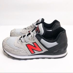 New Balance 574 Red Black Gray Sneaker Size 7.5